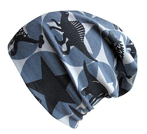 Wollhuhn ÖKO Long-Beanie, Wende-Mütze, ganzjährig, mit coolen Dinos und Sternen für Jungen und Mädchen, 20141215 (M: KU 52/54 (ca 3-6 Jahre), Coole Dinosaurier in grau/schwarz)