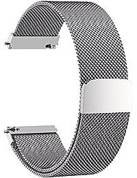 Fullmosa 5 Colores para Correa de Reloj, Milanese Correa Huawei Samsung Correa/Banda/Band/Pulsera/Strap de Recambio/Reemplazo 16mm 18mm 20mm 22mm 23mm 24mm, Plata 18mm