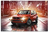 VW Golf Gti Klassisch Hot Fließheck Poster Satin Matt Laminiert - 91,5 x 61 cm (36 x 24 Inch)