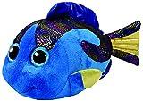 TY 37244 Beanie Boo's Aqua Fisch mit Glitzeraugen, 42 cm, blau