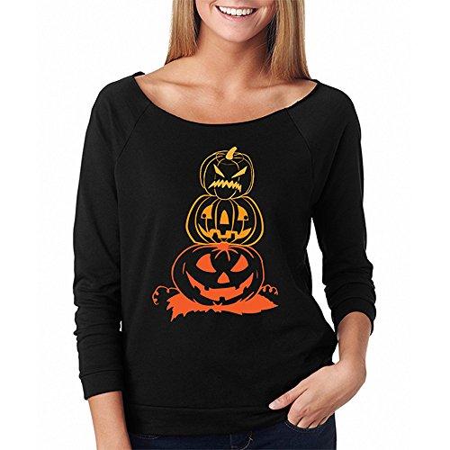 Predator Kostüm Hollywood - LOPILY Orange Shirt Damen Halloween Kostüme Damen Gruselig Kürbis Sweatshirts für Halloween Party Tshirts 3D Sweatshirts Damen für Halloween Ärgerliche Kürbis Tshirt (Schwarz, 38)