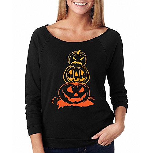 Hollywood Monster Kostüm - LOPILY Orange Shirt Damen Halloween Kostüme Damen Gruselig Kürbis Sweatshirts für Halloween Party Tshirts 3D Sweatshirts Damen für Halloween Ärgerliche Kürbis Tshirt (Schwarz, 38)