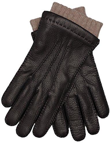 EEM Herren Lederhandschuhe EDGAR aus echtem Hirschleder, Strickfutter aus 50% Kaschmir und 50% Wolle, schwarz L (Leder-wolle-handschuhe)