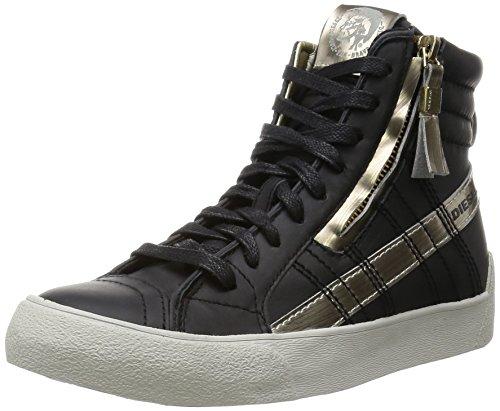 Diesel Damen D-Velows D-String Plus Mid Hohe Sneaker, Schwarz (Black/Platinum), 37 EU
