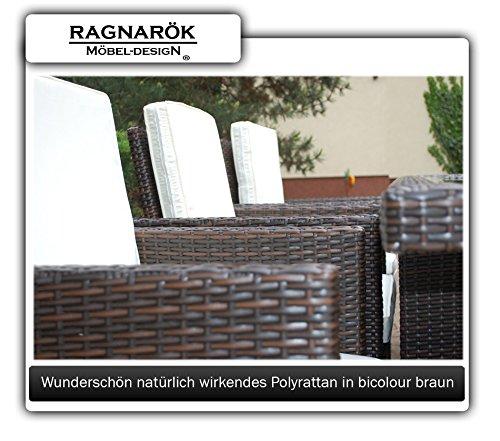 Gartenmöbel PolyRattan Essgruppe Tisch mit 6 Stühlen & 4 Hocker - 6
