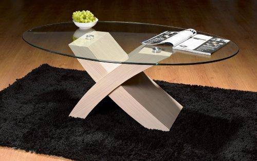 UKCOFFEETABLES Milano X Coffee Tables - Oval Glass (White)