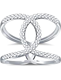 Silvernshine Halo Twist CZ Diamonds Engagement Ring 14k White Gold Plated Bridal Ring Set