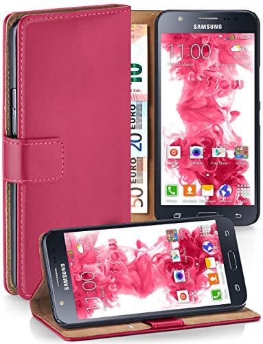 moex® Booklet mit Flip Funktion [360 Grad Voll-Schutz] für Samsung Galaxy J5 (2015)   Geldfach und Kartenfach + Stand-Funktion und Magnet-Verschluss, Pink