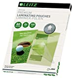 Leitz iLam Pouch per plastificazione a caldo, Lucida, Trasparente, Formato A4, con UDT, Spessore Pouch 80 micron, Confezione da 100 pezzi, 74780000