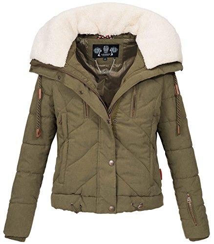 Frauen-schnee-jacken (Navahoo Damen Designer Winter Jacke warme Winterjacke Steppjacke Teddyfell B605 [BB605-Zicke-Grün-Gr.L])