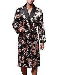 Homme Kimono en soie Robe de Chambre Peignoir de Bain, VERNASSA Vêtement de Nuit , Satin Pyjama, L-XXL, Multicolor & Fashion Styles