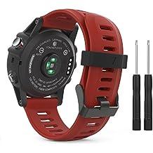 MoKo Garmin Fenix 3 Accesorios, Banda Reemplazo de Silicona Suave Deportiva con Herramientas para Garmin Fenix 3 / Fenix 3 HR Smart Watch - Rojo Oscuro