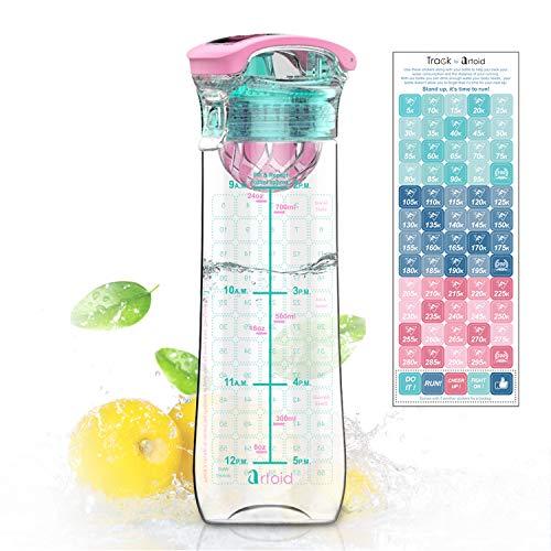 Artoid 800mlSport Trinkflasche Wasserflasche für Fruchtschorlen Auslaufsicher, aus BPA freien Tritan-Material, mit Innovative Frucht Filter Zeitmarkierung, Sticker zum Aufzeichnungen Ihrer Läufe
