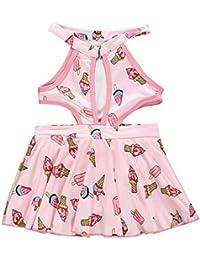97281b959 Mitlfuny Niño Traje de Baño Sin Mangas Honda Bañador de una Pieza para bebé  Niñas Impresión