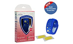 Safe-O-Kid Mosquito Repellent Band with 2 Refills and 6 Anti Mosquito Patches - Sugartown Theme (Blue)