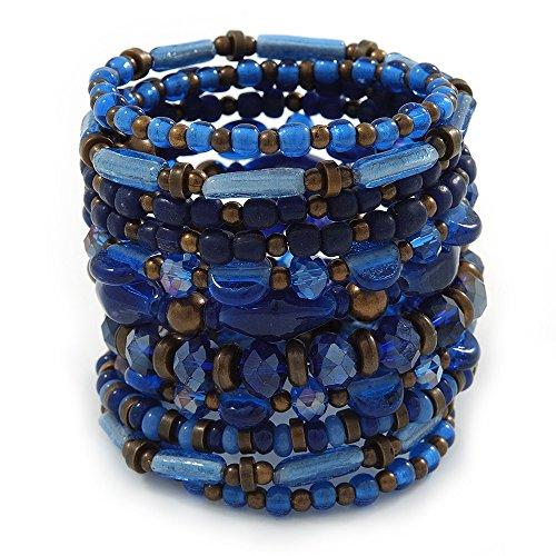 In ceramica, a spirale, in materiale acrilico, Braccialetto con perle in vetro, colore: blu, Marrone, regolabile