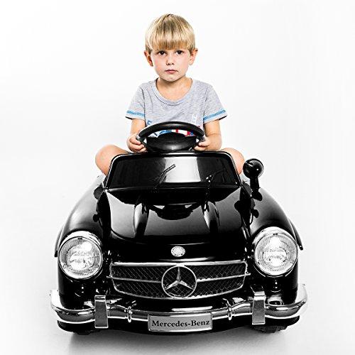*Elektroauto Kinderauto Elektrofahrzeug MP3 Fernbedienung für Kinder Mercedes-Benz 300SL Schwarz mit Fernsteuerung (Schwarz)*