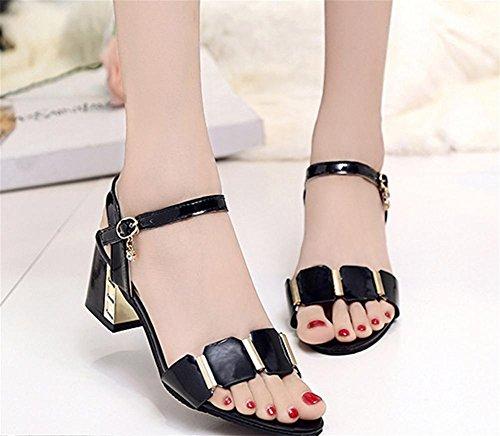 pengweiRough con sandali in pelle Ladies Summer Festival con pantofole eleganti Black