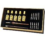 Daveliou Calligrafia Penna Set - 12 Pezzo Kit - GRATIS Vetro Penna - 5 Pennino e 5 Inchiostro Set