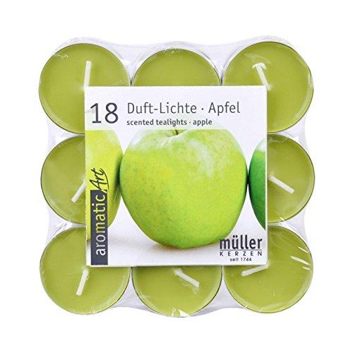 18 Duftteelichte Grüner Apfel grün, 4 Stunden Brenndauer