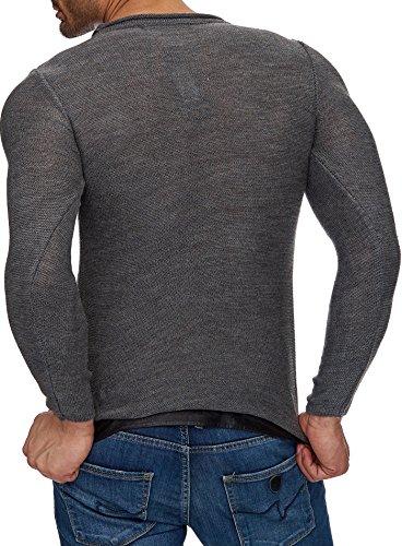 Tazzio Strick-Pullover Herren asymmetrischer Rundhals Pullover TZ-16494 Anthrazit