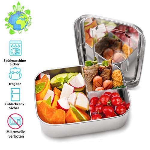 Charminer Lunchbox aus Edelstahl, Bento Box Metal Dense Lunchbox Lunchbox 1000ML mit 3 festen Fächern, Spülmaschinenfest, ideal für gesunde Snacks, Beilagen oder Fingerfood zum Wandern/Reisen