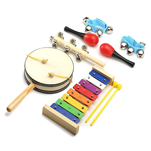Percussion Toy, NASUM 7pcs Rhythm Hand Percussion Instruments Set Xylophone, Rattle, Sleigh Bell, Wrist Bells, Maracas for Kids, Children, Toddler