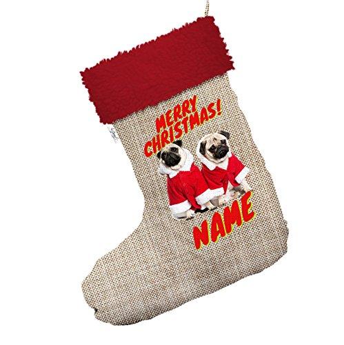 Möpse Kostüm Für - personalisierbar Santa Kostüm Möpse Jumbo Sackleinen Santa Claus Weihnachten Strümpfe mit rotem Rand