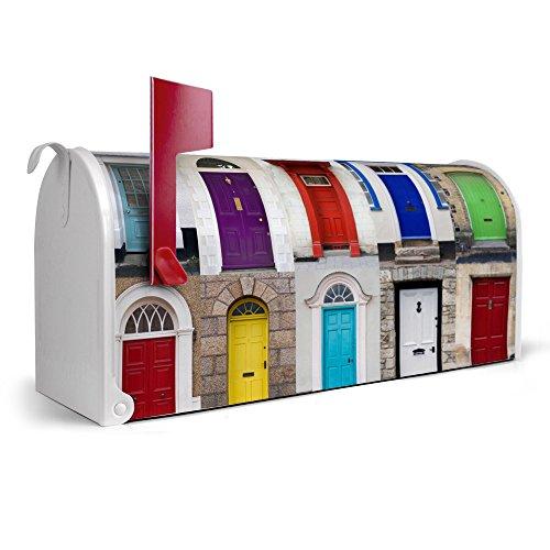 banjado-weie-US-Mailbox-17cm-x-22cm-x-51cm-amerikanischer-Briefkasten-mit-Motiv-Tren