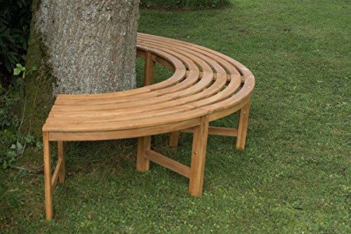 CLP 180° Teak Baum-Bank MALE, halbrund Ø ca. 115 cm / 200 cm (innen/außen), Teakholz, massiv, ohne Rückenlehne Braun - 4