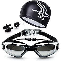 Gafas de natación Espejo Silicona Anti Niebla protección UV Gafas para Nadar para Adulto Infantil Niños Hombres Mujeres