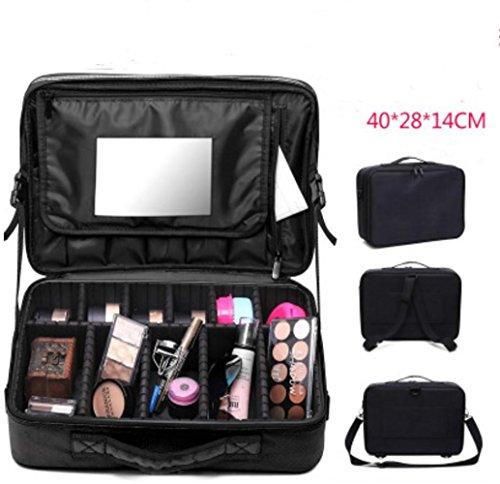 LUCKY-U Trousse de Maquillage Grande taille Assez d'espace Collection cosmétique Espace de rangement Maquillage Cadeaux pour femme Dames Imperméable , black