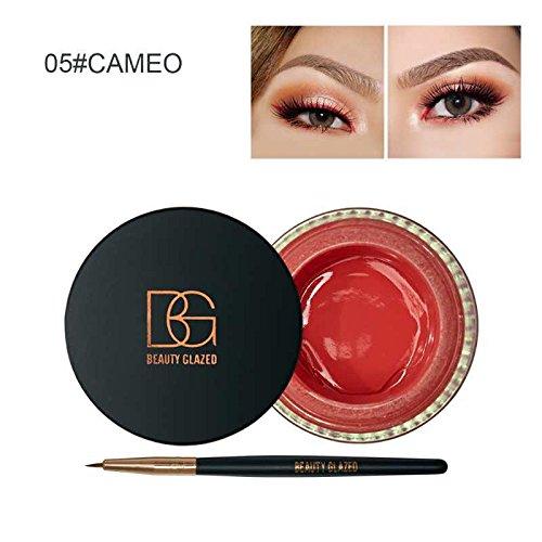 Beauty Glazed Eyeliner Gel Crème Avec La Brosse de Maquillage Cosmétique Waterproof Imperméable Eye Liner Brosse Kit Camée