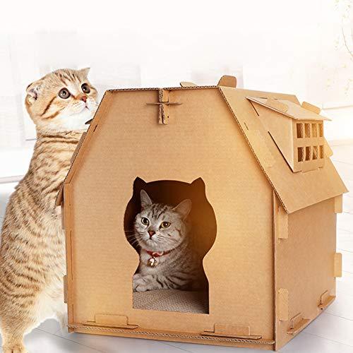 fsttm88 Pappe Katzenhaus Kratzbaum Katze Wellhaus Katze Kratzbrett Selbstmontage Kätzchen Katzenhaus Kartonbox DIY Durable Recyclingpapier Katzenhaus