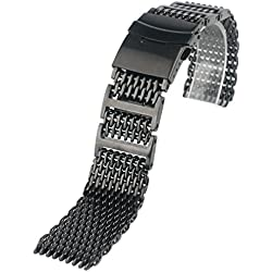 YISUYA Solid 316L H-Link Stainless Steel Shark Mesh Watch Strap Band 24mm Width Black
