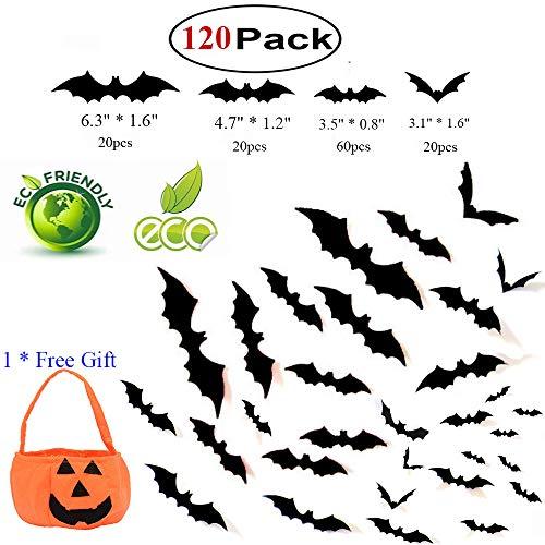 120 Stück Halloween 3D Fledermäuse Aufkleber, Unheimlich PVC Fledermaus Wandaufkleber, Halloween Dekoration für Die Wand zu Hause Fenster Party