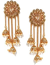 Priyaasi Off-White 18K Gold-Plated Handcrafted Dome Shaped Jhumkas