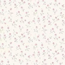 Papel pintado de vinilo floral de Essen estampados PR33857 crema Alt - Diseño de flores vintage floral rosa