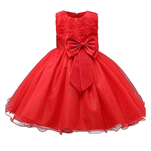 Kids Filles Clothing Formal Teenagers Prom hibote Gown Wedding Party RobesRed 120CM