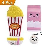 VLAMPO 4 Pcs Jumbo Squishies Popcorn-Schale / rosafarbene Milch-Kasten-Karikatur / Nahrung Reis / Minipandacharme Langsame Steigende Squishies parfümierte Spielwaren Kawaii Squishy