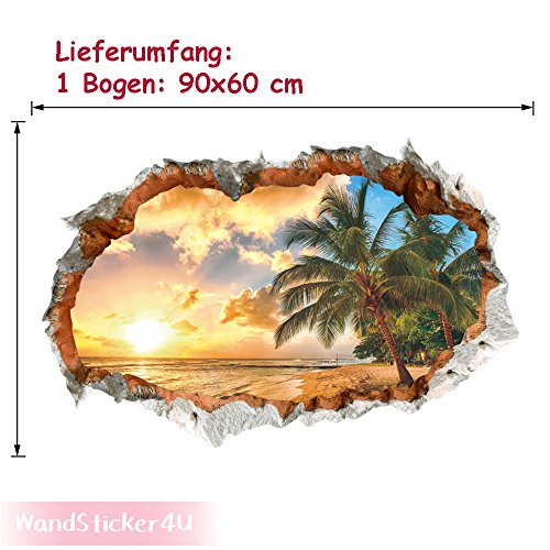 wandsticker4u-3d-efecto-vinilos-decorativos-paradise-island-tatuajes-de-pared-90x60-cm-sunset-beach-