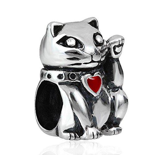 Soulbead fortune cat charm in argento sterling 925con cuore rosso gioielli di perline per braccialetti stile europeo