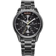 Negocio MEGIR 3005 Reloj de cuero genuino de la correa Hombre 30M Reloj de cuarzo masculino resistente al agua con análogo luminoso Sub-dial de trabajo , 1