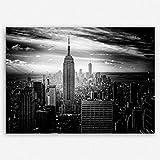 ge Bildet Hochwertiges Leinwandbild - Empire State Building in New York - Schwarz Weiß - 100 x 70 cm Einteilig | Wanddeko Wandbild Wandbilder Wohnzimmer deko Bild | 2283II D