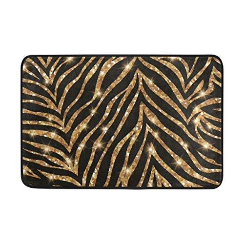 Ahomy, rechteckiger Teppich Badteppich Gold Zebra Muster Polyester Bereich Teppiche Rutschhemmend Badewanne Dusche Matten Weich saugfähig Schlafzimmer Wohnzimmer Fußmatte 58,4x 38,1cm - Gold-rechteckiger Teppich