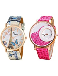 OM Designer Paris Style Dial Round Shaped Leather Belt Diamond Watch (Pack Of 2)Watch -For Women