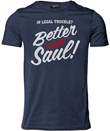 Stylotex Herren Slimfit T-Shirt Better Call Saul v3, Größe:L;Farbe:navy V3 Dvd