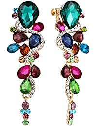 Clearine MujerBohemio Boho Cristal Boda Novia Lágrima Chandelier Clip-On Dangle Floral Pendientes