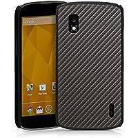 LG Nexus 4 Hülle Schutz Hard Case Cover Carbon Look Schwarz Grau Metall