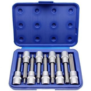 9X Torx-Schraubendreher-Einsatz Steckschlüssel Set Bit T-Profil 1/5,1cm Antrieb T20-60